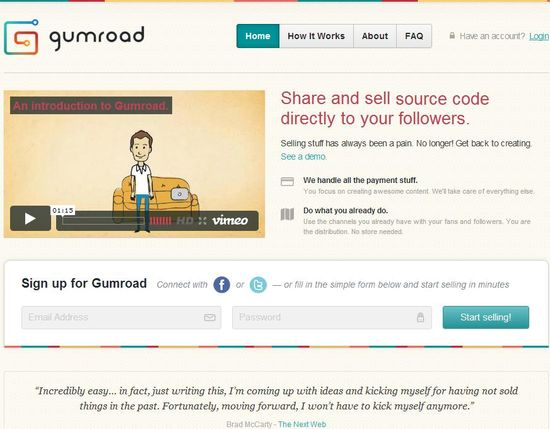 Gumroad homepage