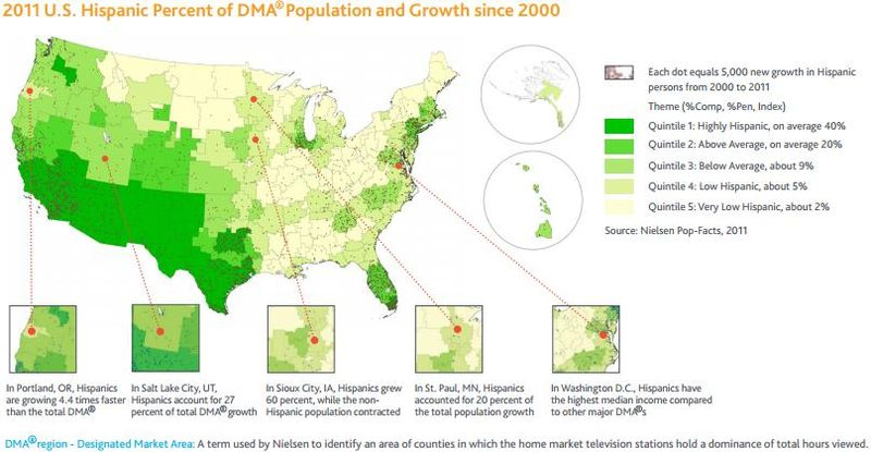 2011 us hispanic percent of dma population and growth since 2000 2011 us hispanic percent of dma population and growth since 2000 nielsen publicscrutiny Images