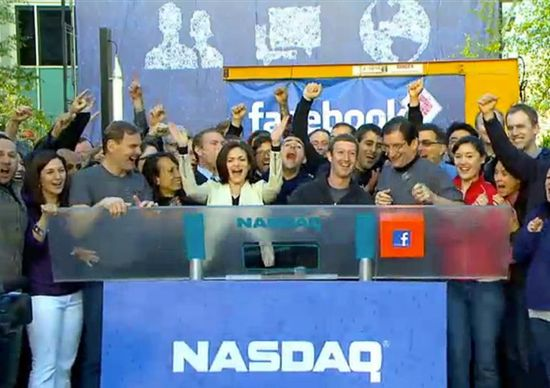 Mark Zuckerberg rings the bell for the start of trading of Facebook shares on NASDAQ from Facebook's HQ in Menlo Park, California