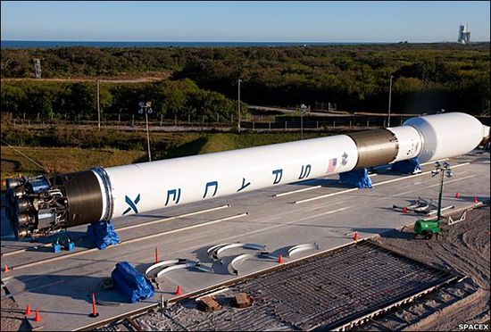 SpaceX Falcon 9 rocket on the ground at Cape Canaveral in Florida