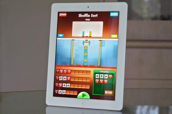 Cargo-Bot game app showing Shuffle Sort