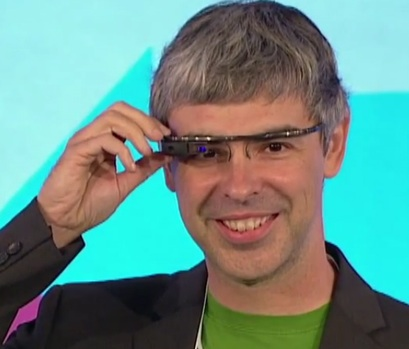 Google CEO Larry Page wearing a pair of Google augmented reality headsup display glasses