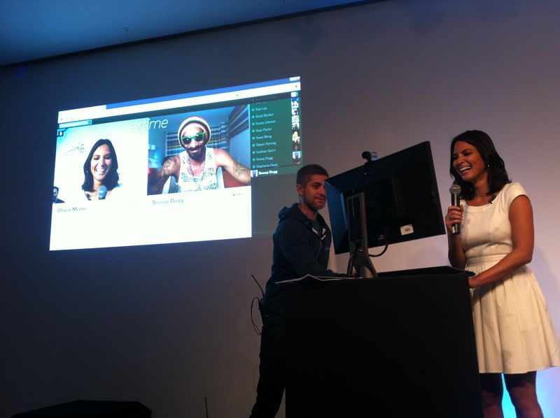 Snoop Dog video chats with TV host Olivia Munn at the Airtime launch