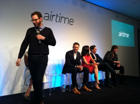Actor and comedian Jim Carrey (far right), made appearance at the Airtime launch in New York