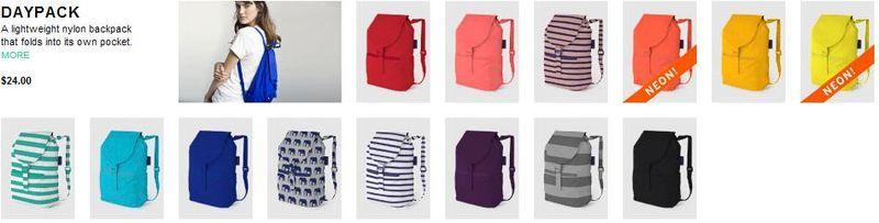 Baggu Daypack - A lightweight nylon backpack that folds into its own pocket comes in 14 color patterns - $24.00