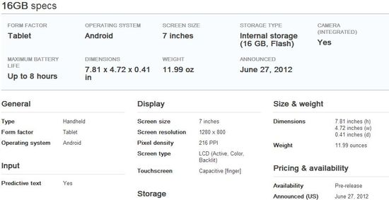 Asus Nexus 7 Tablet 3