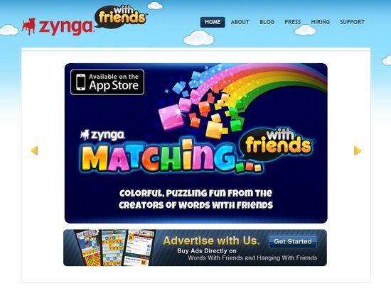 Zynga With Friends homepage