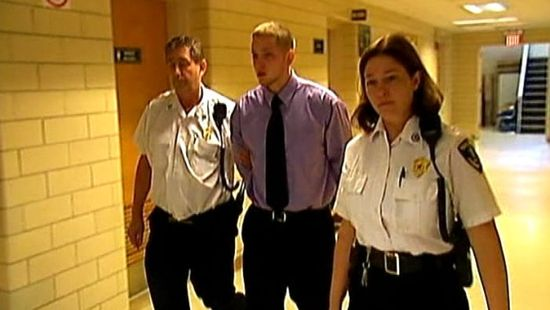 Aaron Deveaux, the 18-yr old Massachusetts' teen shortly after sentencing to 2.5 yrs in prison for texting while driving