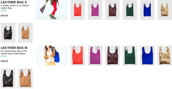 Baggu - Leather Bag S and Bag M come in 8 different colors or patterns - $120 and $160 each respectively