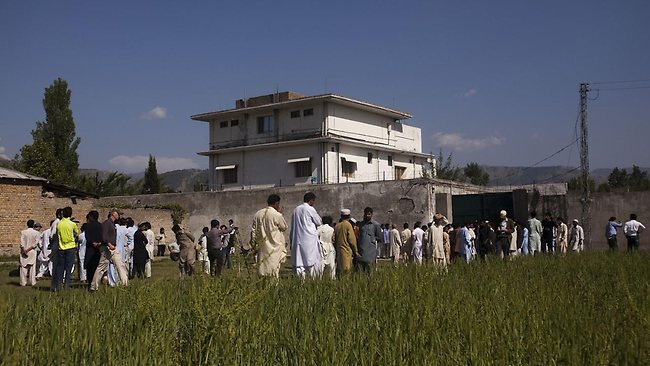 Osama bin Laden compound from outside surrounding wall