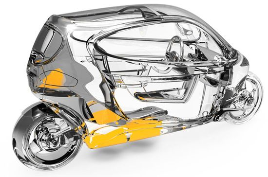 See-through view of the C-1 self-balancing, fully-enclosed, all-electric motorcycle E