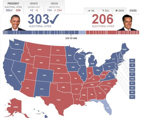 2012 Presidential Election - Electoral Votes and Voting Results by State (Prior to final Florida results)
