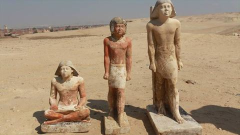 Three recently discovered statues were found in a complex of tombs, including one of pharaonic princess Shert Nebti, in the Abusir region, south of Cairo, Egypt