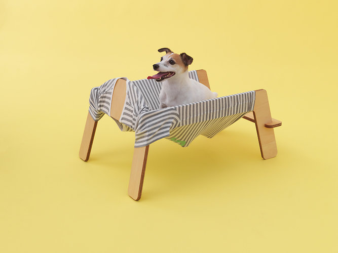 Muji's Architecture for Dogs includes Torafu Architects' Jack Russell hammock made from old clothing converted into a hammock. You can also substitute warmer clothing in the winter
