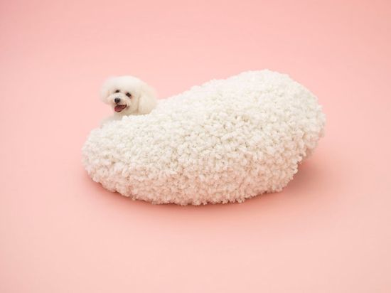 Muji's Architecture for Dogs includes Kazuyo Sejima's piece for the Bichon Frise. When they climb inside, the dog completes the structure's shape