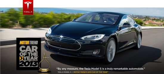 Tesla Motors Model S Sedan is named '2013 Car of the Year' by Motor Trend Magazine
