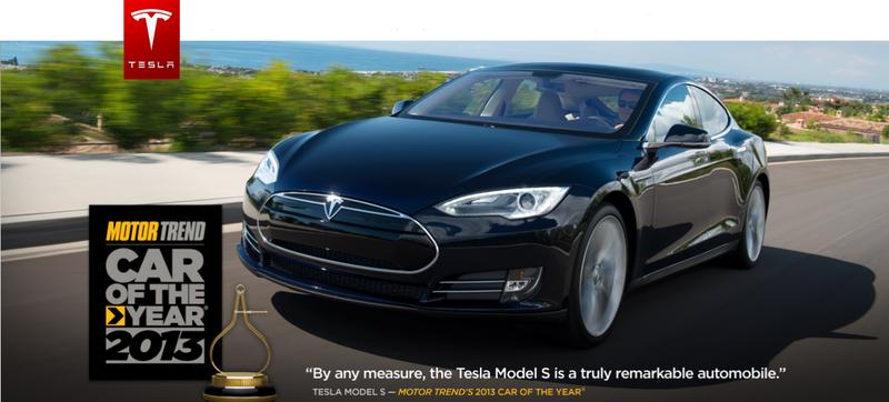 Tesla Motors Model S Sedan is named '2013 Car of the Year' by Motor Trend Magazine