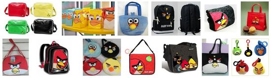 Angry Birds also includes a broad selection of bags of all types printed with the Angry Bird characters
