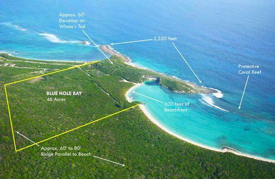 Dean's Blue Hole, Bahamas aerial view