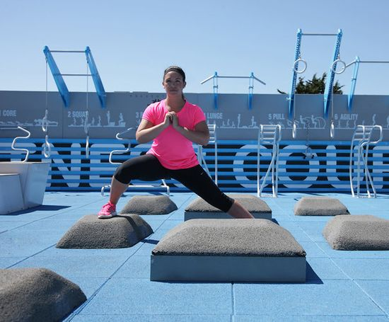 The NFC court uses passive equipment structures--resistance training--to enable workouts without lots of weights and complicated moving parts