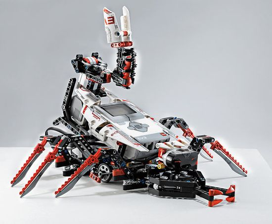 Lego Mindstorms EV3 is being sold through the framework of five characters, like this scorpion. which has balls lodged in the tail that can be launched with surprising velocity