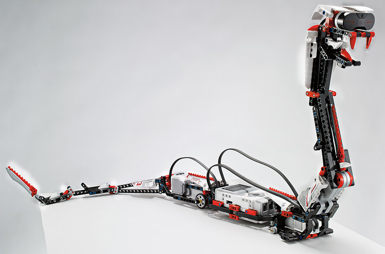Lego MindStorms EV3 snake character makes use of the kit's new IR sensors. When you wave your hand in front of its head, it lunges to bite you. The snake can be controlled via an iPhone app as well