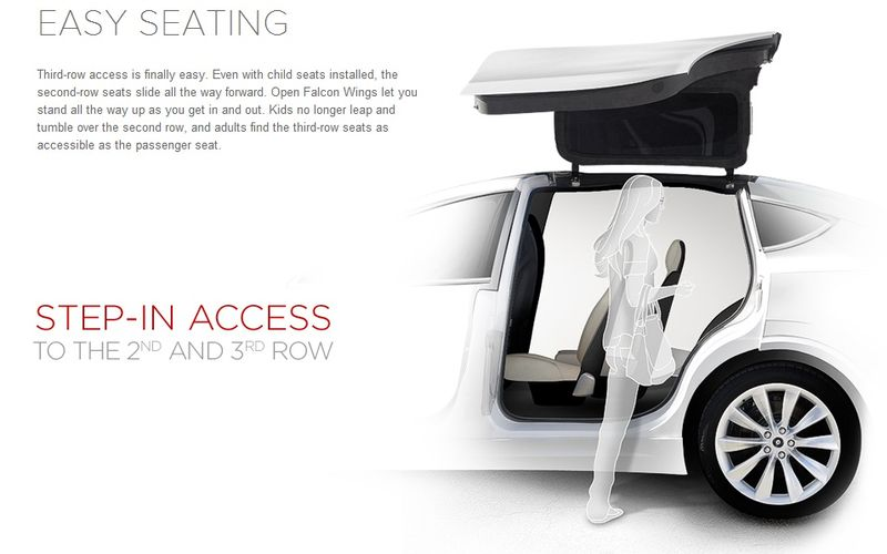The Tesla Model X allows easy seating in all rows, even with child seats installed