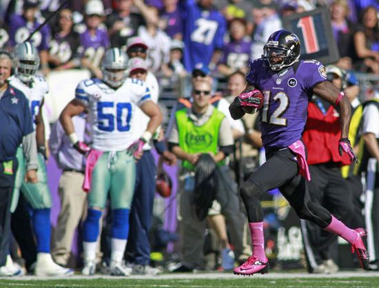 Baltimore Ravens. Jacoby Jones #12 returns a kickoff for a touchdown in a game versus the Dallas Cowboys during the 2012 NFL season