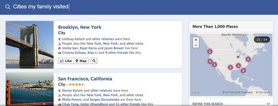 Facebook Graph Search H - Cities my family visited