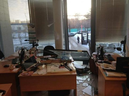 This picture taken by Pavel Berlet shows office damage in the city of Chelyabins
