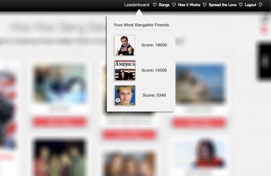 Bang With Friends shows your popularity score which is akin to a Klout influence score