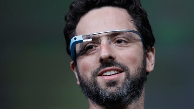 Google co-founder Sergey Brin demonstrates Google's new Glass, the wearable internet glasses shown at the Google I-O conference in San Francisco, June 27, 2012