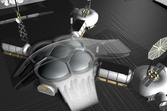 3D concept illustration of NASA JPL's first lunar base 2