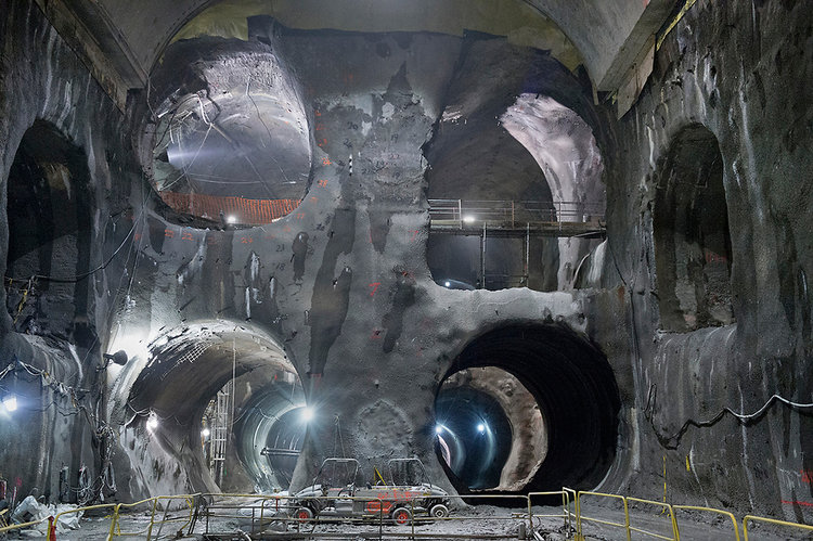 View of a series of underground tunnels under construction below New York City for the new Long Island Railroad to Queens, NY MTA Eastside Access Project
