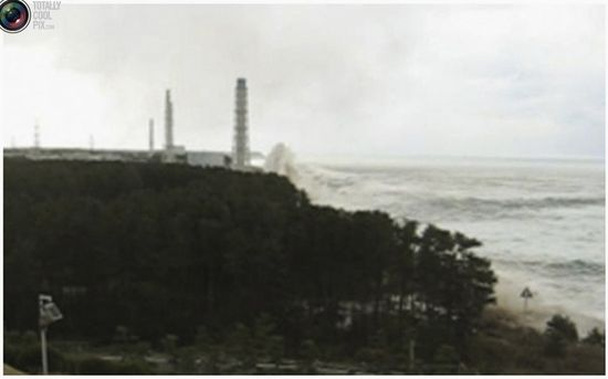 Image of the massive tidal wave that slammed into the Fukushima Dai-Ischi nuclear power plant on March 11, 2011