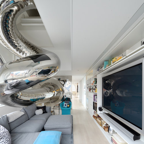 The slide brings you right into the living room