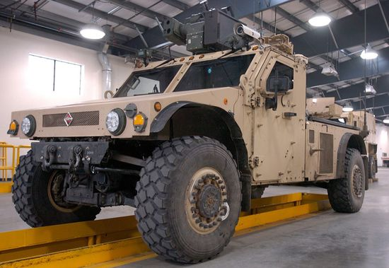 Future Tactical Truck System Utility Vehicle Demonstrator from International, outfitted with Plasan armor