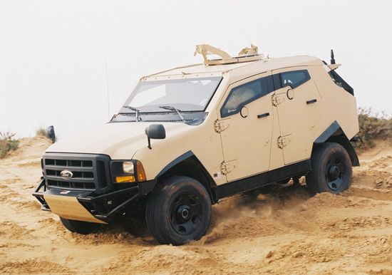 Plasan Sand Cat armored vehicle based on a shortened Ford F350 platform