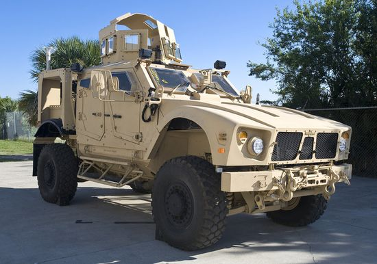 A Plasan-armored, mine-resistant ambush protected all-terrain vehicle