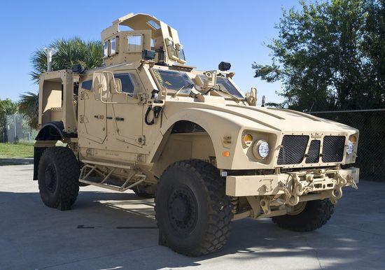 A Plasan-armored, mine-resistant ambush protected all-terrain vehicle
