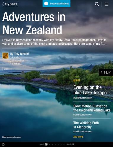 Sample Flipboard magazine titled, 'Adventures in New Zealand'