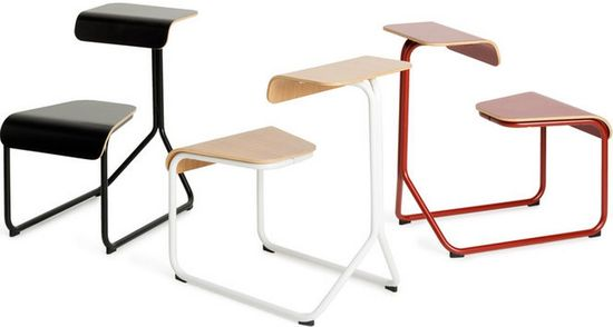 The steel tube and bent plywood of the Toboggan looks like a mutated public school desk--it supports a variety of sitting positions plus a place to rest a tablet or notebook