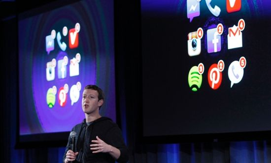 Mark Zuckerberg, Facebook's co-founder and chief executive speaks the launch of Facebook Home at the unveiling on April 4, 2013