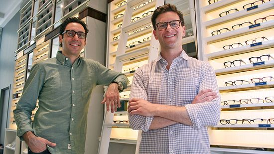 Warby Parker cofounders Neil Blumenthal and Dave Gilboa in the new Greene Street store