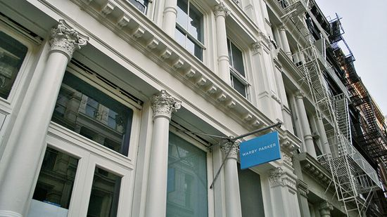 The Warby Parker storefront at 121 Greene Street in New York City