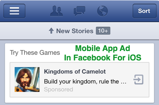 Facebook Mobiile App Ad for in Facebook for iOS (Apple devices)