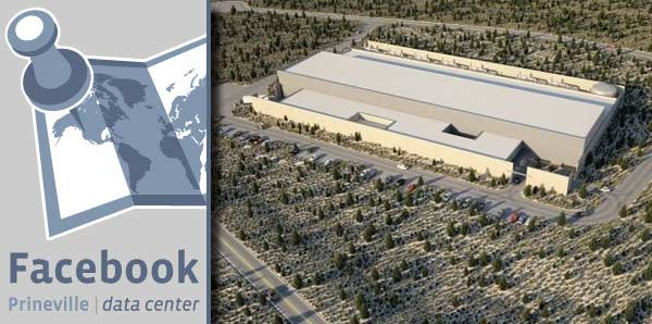 Facebook's huge data center located in Prineville, Oregon