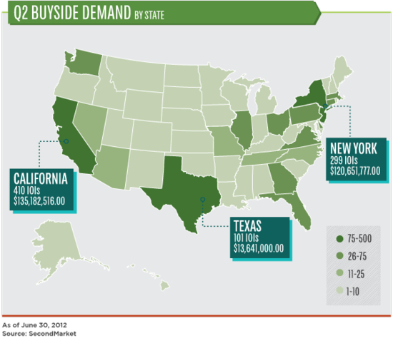 Q2 2012 Buyside Demand by State - SecondMarket - June 30, 2012