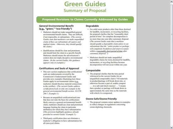 Green Guides - Summary of Proposal - Page 1
