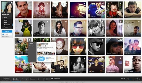 The new myspace eliminates unnecessary clicks whenever possible--users can see an overview of friends' info simply by mousing over their thumbnail.
